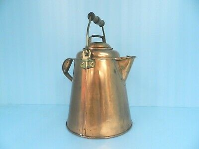STUNNING Antique? Heavy Solid Copper & Brass Kettle Pitcher~w/LID Hand Hammered