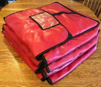 Lot of 4 Insulated Red Pizza Restaurant Delivery Bags Extra Large - USED