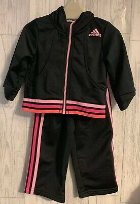Girls Age 9-12 Months - Genuine Adidas Jogging Bottoms & Zip Up Jacket Set