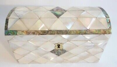 Antique Dome Top Mother of Pearl and Abalone Casket Hinged Box