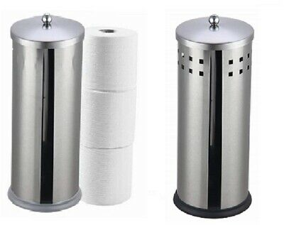 Deluxe Stainless Steel Toilet Roll Holder Caddy Dispenser Loo Paper Storage W/ L