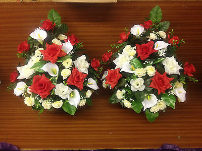 2 x GRAVE FLOWER ARRANGEMENT artificial flowers funeral tribute memorial posy