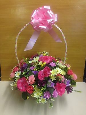 ANY COLOUR artificial silk flower arrangement posy in wicker basket gift grave