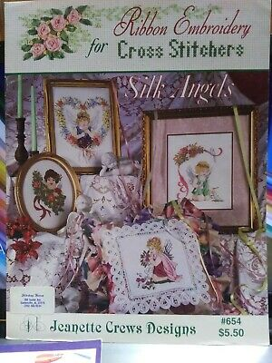 J Crews SILK ANGELS Silk Ribbon Embroidery Counted Cross Stitch Booklet #654