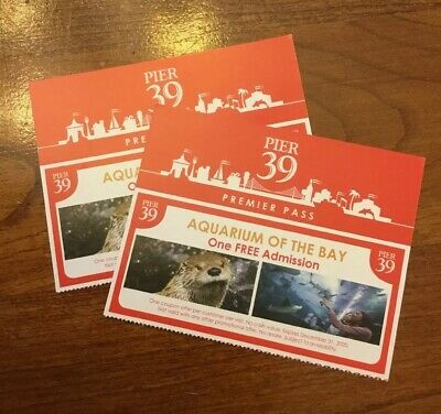 Aquarium of the Bay - San Francisco Pier 39 - Two Free Admission Tickets Passes