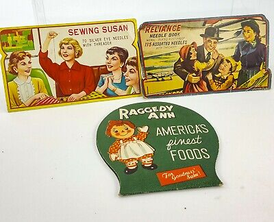 Vintage Needle Book LOT of 3 Raggedy Ann Sewing Susan Reliance Nickel Plated