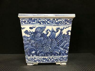 """8"""" Chinese old Porcelain Ming xuande mark blue white seawater dragon Flowerpot"""