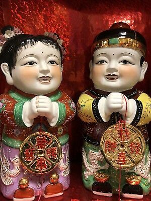 "Chinese 19"" Pair Happy Boy Girl Wishing Good Luck Prosperity Porcelain Statues"