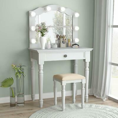 White Vanity Set With Lighted Mirror Stool Drawer Women