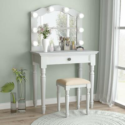White Vanity Set With Lighted Mirror Stool Drawer Women Makeup Dressing Table