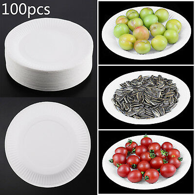 "100 x WHITE PLASTIC PLATES ROUND 18cm 7"" TABLEWARE PARTY BIRTHDAY DISPOSABLE NEW"