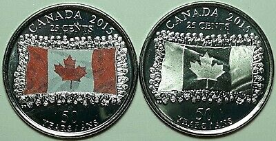 2015 CANADA 25 Cent 50th Anniv. FLAG Both Types Quarters From Mint Roll UNC