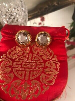 Vintage Chanel Earrings-Gold Quilted Clear Mirror Crystal  Clip-Ons-EXC-Unique!