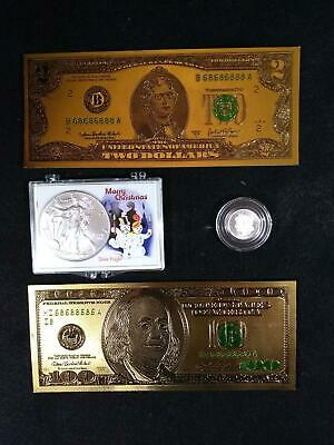 Junk Drawer LOT US Silver Eagle, Gold Foil $2 & $100, .999 silver round
