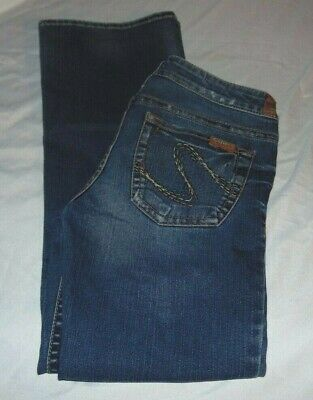"Womens SILVER Low Rise TINA Lt Distressed Jeans Size 28 Waist 30"" Inseam 30"""