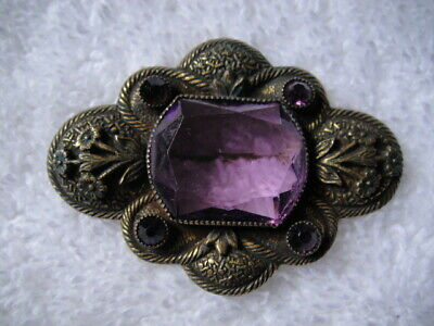 Antique Art Nouveau Brass Bronze Pin Brooch with Amethyst Crystals Glass