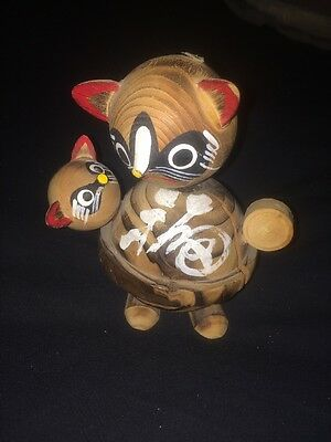"""WOOD WOODEN HAND CARVED 5"""" CAT FIGURE JAPAN W/ BOX MID-CENTURY MODERN MCM 1960's"""