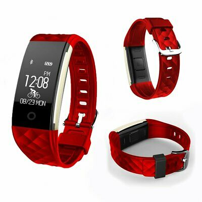 Smart Bracelet Fitbit Style Heart Rate Monitor Watch Pedometer Tracker S2 Red