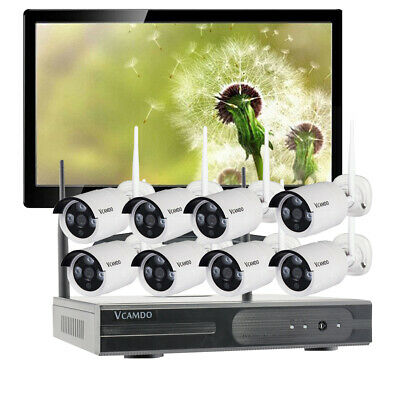 Home CCTV 1080P Wireless Security Camera System IR WIFI NVR Monitor Night Vision