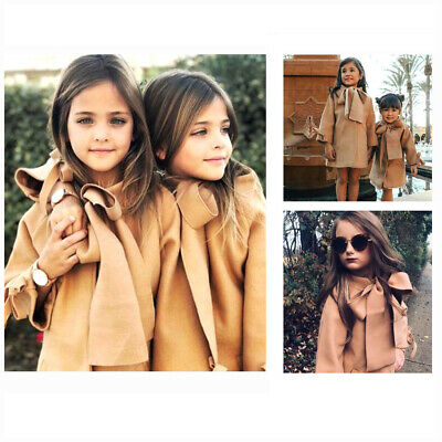 AU Fashion Kids Baby Girls Warm Wool Bow Coat Overcoat Outwear Jacket Parka