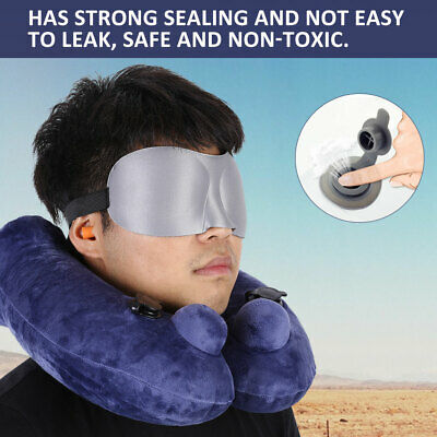 Inflatable Travel U-Shaped Pillow Head Neck Rest Cushion W/Eye Mask&Earplugs Kit