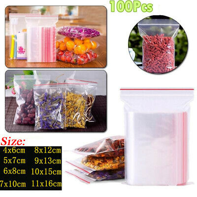 100pcs Clear Reclosable Zip Lock Plastic Storage Bags Poly Bag Jewelry Bags UK