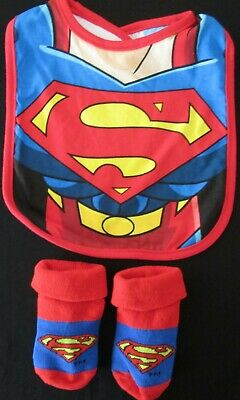Baby Boys Superman Bib Socks Set Pack Gift Super Hero Booties 0 - 18 mths NEW