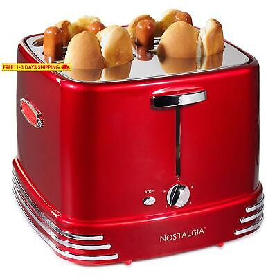 Nostalgia Rhdt800Retrored Four Dogs  Buns Pop-Up Toaster, 4-Hot Dogs, Retro Red