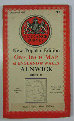 1947 Old Vintage OS Ordnance Survey New Popular Edition One Inch Map 71 Alnwick