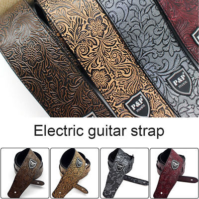 PU Leather Guitar Strap Embossed for Acoustic Electric Guitar Adjustable UK