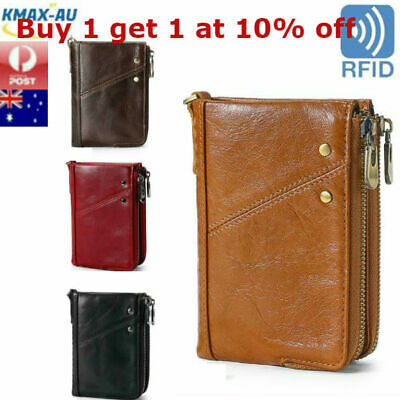 RFID Blocking Genuine Leather Mens Wallet Purse Coin Money Card Clip ID Holder
