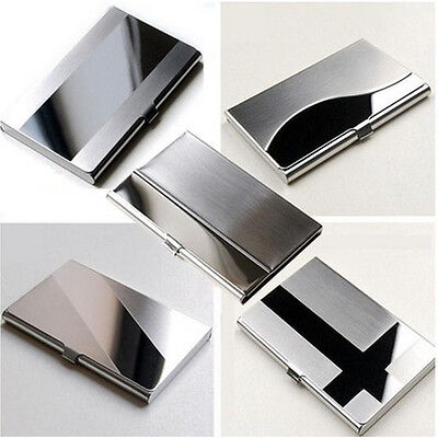 Fine Stainless Steel Pocket Name Credit ID Business Card Holder Box Metal T>v