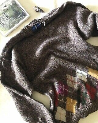 Vintage David Jones Pure New Wool Made In Ireland Jumper Taupe Colour Size M