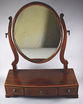 Antique Mahogany Small Desktop Dressing Table Vanity Mirror And Drawers