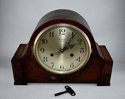 VINTAGE H SAMUEL CHIMING MANTEL CLOCK OAK CASED c1930