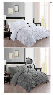 Pinch Pleat Pintuck Duvet Set Quilt Cover Bedding 100% Polly Cotton Double King
