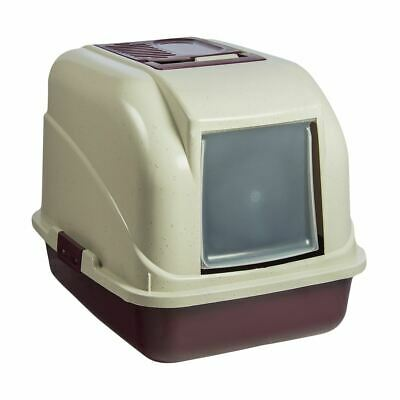 Large Burgundy Hooded Enclosed Cat Litter Box Tray With Filter Portable Toilet