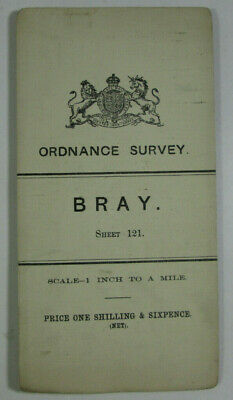 1899 Old Antique OS Ordnance Survey Ireland One-Inch Second Edition Map 121 Bray
