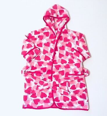 Primark Girls Pink And White Dressing Gown Age 2-3 Years Hooded Hearts