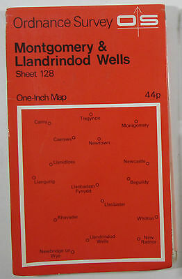 1972 old OS Ordnance Survey 1-inch map sheet 128 Montogomery & Llandrindod Wells