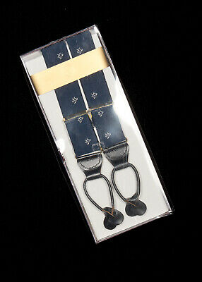 NWT Mens ANDOVER SHOP Suspenders in Navy Blue Silk Scales Of Justice USA Boxed