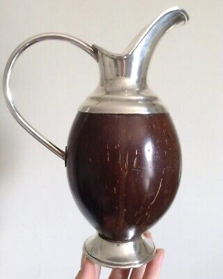 Antique Rare Handsome 0.925 Silver Top & Foot Coconut Body Claret Jug / Pitcher