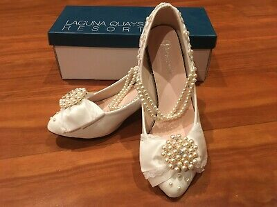 WOMENS SHOES Shengren Ivory Wedding Bridal Heels Size 38 (7 US) Pearls Lace