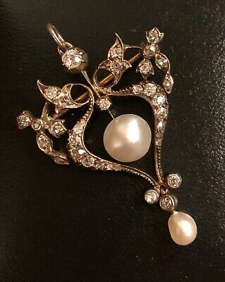 19c ANTIQUE SILVER, GOLD, PEARL & OLD CUT DIAMOND 0.7ct BROOCH & PENDANT