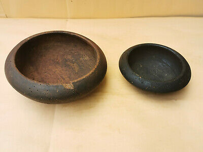 OLD PRIMITIVE ANTIQUE WOODEN HAND CARVED BOWL CUP RUSTIC 2 pcs