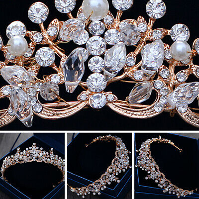 NEW 5cm High Crystal Pearl Gold Wedding Bridal Party Pageant Prom Tiara Crown AU
