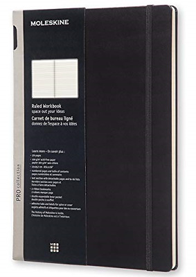 """Moleskine PRO Notebook, Hard Cover, A4 8.25"""" x 11.75"""" Ruled/Lined, Black"""