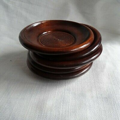 Japanese Lacquer ware Drink Coaster Vtg Wooden Set 5pc Saucer