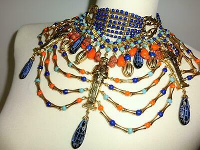 Museal MIRIAM HASKELL Egyptian Choker Necklace Ormolu Coral Lapis Cleopatra