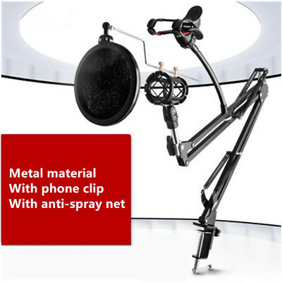 NEW Microphone Suspension Boom Scissor Arm Stand with Mic Pop Filter